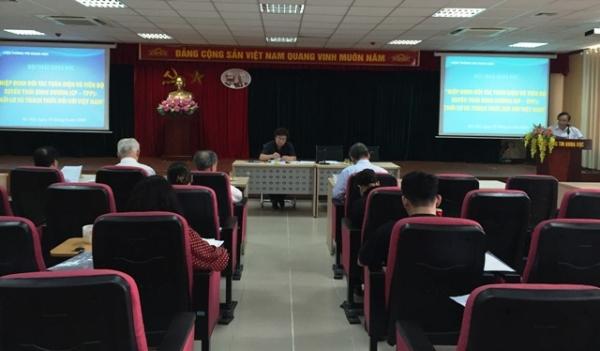 """Hội thảo khoa học: """"Hiệp định Đối tác Toàn diện và Tiến bộ xuyên Thái Bình Dương (CP-TPP): Thời cơ và thách thức đối với Việt Nam"""""""